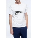 Simple Basic Letter Printed Round Neck Short Sleeve Cotton Tee for Guys