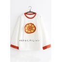 Lovely Japanese Character Fruit Applique Contrast Collar Long Sleeve Loose Fit T-Shirt