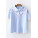 Basic Simple Lapel Collar Short Sleeve Chevron Striped Polo Shirt for Girls