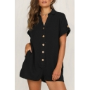 Women's Casual Leisure Short Sleeve Lapel Collar Solid Button Down Shirt Rompers