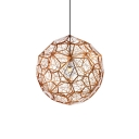 Contemporary Etched Web Pendant Lamp Stainless 1 Light Suspended Lamp in Rose Gold