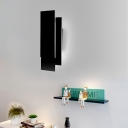 Black Finish Rectangle Sconce Light Modernism Aluminum LED Wall Mount Fixture for Sitting Room