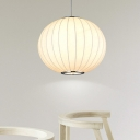 Fabric Globe Hanging Lamp Minimalist Adjustable 1 Light Suspension Light in White