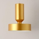 Metal Drum Suspended Light Modern Stylish Single Light Hanging Lamp in Gold for Bedroom