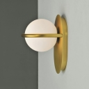Frosted Glass Globe Wall Lamp Simplicity Single Light Wall Light Fixture with Gold Metal Base