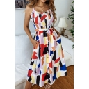 Hot Fashion Color Block Ruffled Hem Bow-Tied Waist Button Fron White Midi A-Line Dress