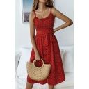 Summer Stylish Polka Dot Printed Sleeveless Bow-Tied Waist Button Front Midi A-Line Cami Dress