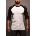 Men's Crewneck Half-Sleeved Chic Colorblock Slim Fitted Sport T-Shirt