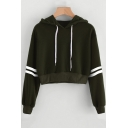 New Stylish Striped Long Sleeve Loose Leisure Sport Cropped Drawstring Hoodie