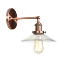 Copper Flared Shade Sconce Light with Glass Shade Vintage 1 Bulb Wall Mount Fixture for Corridor