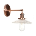 Glass Scallop Shade Sconce Light Industrial 1 Light Decorative Wall Mount Fixture in Copper Finish