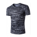 Men's Black Unique Irregular Striped Print Round Neck Short Sleeve Fitted T-Shirt