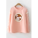 Cute Cartoon Rabbit Print Fashion Lace-Up Long Sleeve Crewneck Loose Fit Sweatshirt