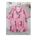 Holiday Beach Stylish Portrait Print Short Sleeve Notched Lapel Collar Pink Button Shirt