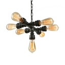 Industrial Cross Pipe Chandelier in Rust Vintage Style, 7 Lights