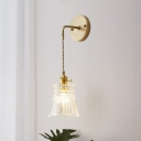 Cone Suspender Wall Light Industrial Vintage Textured Glass Shade 1 Light Wall Lamp in Cast Brass for Foyer