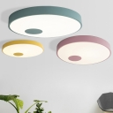Colorful Macaron Drum Flush Light Coffee Shop Metallic LED Ceiling Fixture in Blue/Pink/Yellow