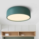 Acrylic Ceiling Lamp with Dome Shade Nordic Style Blue/Coffee/Yellow LED Flush Mount Lighting for Bedroom