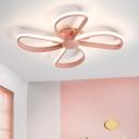Blue/Pink Windmill Style Flushmount Modern Chic Metallic LED Flush Light Fixture for Nursing Room