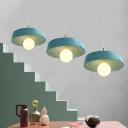 Blue Drum Pendant Light Contemporary Metallic 1 Light Hanging Ceiling Lamp for Coffee Shop