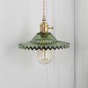 Green Glass Shade Scalloped Wall Lamp Nordic Modern Single Head Suspender Wall Light