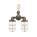 Aged Bronze Metal Cage Wall Lamp Nautical Style Triple Light Wall Lighting for Restaurant