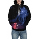 New Arrival Trendy 3D Cartoon Fox Pattern Black Long Sleeve Drawstring Hoodie