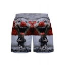 Cool 3D Mushroom Cloud Clown Print Elastic Waist Mesh-Panelled Men's White Swim Shorts