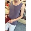 Men's Summer Simple Plain Pocket Chest Comfort Linen Loose Fit Tank Top