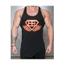 Cool Logo Printed Scoop Neck Sleeveless Slant-Cut Bottom Summer Quick-Dry Bodybuilding Fitness Muscle Tank for Guys
