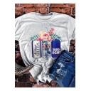 Chic Letter Floral Printed Loose Leisure White Graphic T-Shirt
