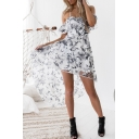 Summer Chic Floral Printed Ruffle Hem High Low Hem Asymmetrical Organza Cami Dress
