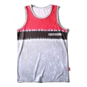 Simple Letter FORTISSIMO Print Colorblock Sleeveless Quick Dry Basketball Loose Sport Tank for Guys