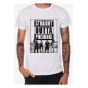 Cool Letter STRAIGHT OUTTA POCHINKI Figure Print White Short Sleeve T-Shirt