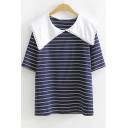 Girls Cute Peter-Pan Collar Striped Printed Short Sleeve Loose Leisure T-Shirt