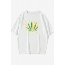 Summer New Trendy Leaf Letter Printed Oversized Cotton T-Shirt