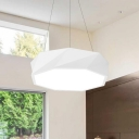 Geometrical LED Light Hanging Chandelier Matte White Finish Contemporary Acrylic Pendant Fixture