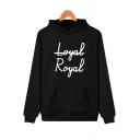 New Stylish Letter LOYAL ROYAL Pattern Long Sleeve Casual Loose Fitted Hoodie