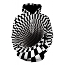 Black and White Colorblock 3D Whirlpool Printed Fashion Hoodie