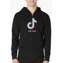 Tik Tok Logo Printed Men's Long Sleeve Zip Front Casual Hoodie