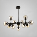 Transparent Glass Ball Chandelier Designers Style Multi Light Drop Light for Dining Room