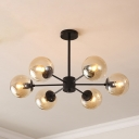6 Light Ball Chandelier Light Post Modern Stylish Hanging Lamp in Cognac for Dining Room
