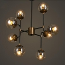 Modo Hanging Light Post Modern Clear Glass 8 Light Ceiling Lamp in Bronze for Coffee Shop