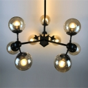Multi Light Ball Chandelier Industrial Transparent Glass in Black for Living Room