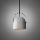 Concreted Dome Hanging Lamp Modernism Wire Powered Lighting Fixture in Gray