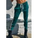 Elastic Drawstring Waist Plaid Print Webbing Side Green Sports Jogger Pants