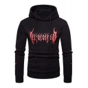 Trendy Fire Pattern Long Sleeve Slim Fitted Drawstring Hoodie for Guys