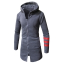 Men's Unique Contrast Striped Print Long Sleeve Split Front Full Zip Fitted Longline Hoodie