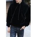 Men's Stylish Warm Thick Long Sleeve Fluffy Fleece Black Casual Drawstring Hoodie