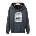 Winter's Warm Thick Sailing Boat Pattern Long Sleeve Regular Fitted Hoodie for Men